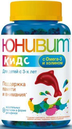 «Юнивит» Кидс с Омега-3 и холином пастилки жев. 4000 мг